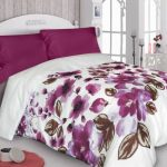 bordó virágos pamutszatén ágynemühuzat