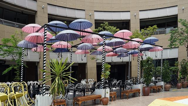 terasz árnyékolás ötletek - esernyők