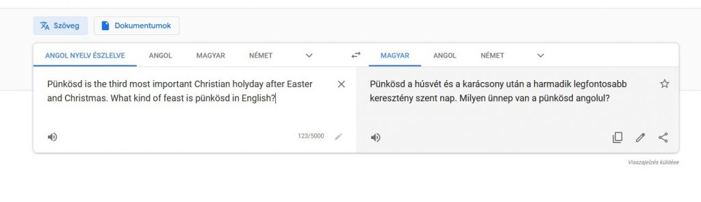 szöveg fordítás google fordítóval