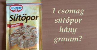 1 csomag sütőpor hány gramm