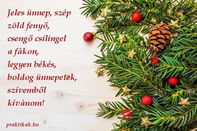 karácsonyi üdvözlet gyerekeknek, szép zöld fenyő