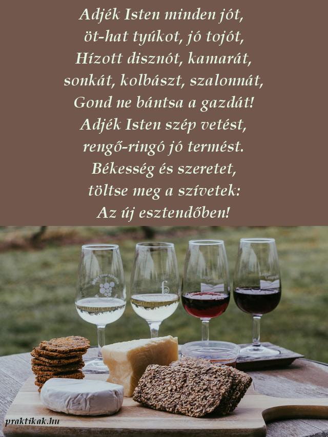 újévi népi köszöntő, bor, kenyér
